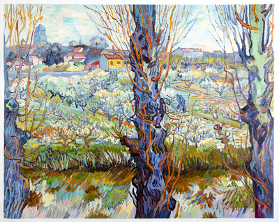 Orchard in Blossom with View of Arles Van Gogh Reproduction, hand-painted in oil on canvas
