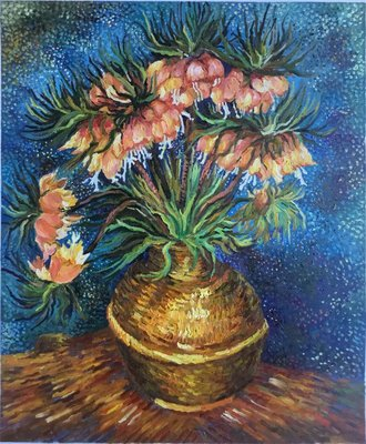 Fritillaries in a Copper Vase van Gogh reproduction, hand-painted in oil on canvas