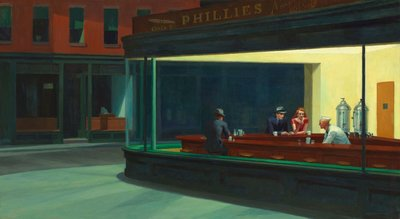 Nighthawks Edward Hopper reproduction, hand-painted in oil on canvas