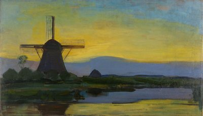 Oostzijde Windmill at Night Mondrian reproduction, hand-painted in oil on canvas