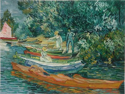 On the Banks of the Oise at Auvers Van Gogh reproduction, hand-painted in oil on canvas