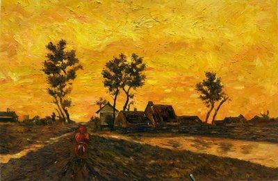 Landscape at Sunset Van Gogh Reproduction