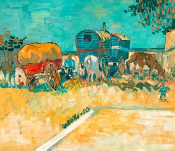 Encampment of Gypsies with Caravans Van Gogh reproduction