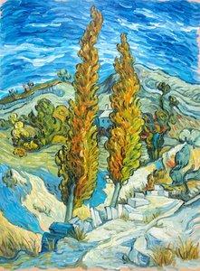 Two Poplars in the Alpilles near Saint-Rémy Van Gogh reproduction