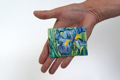 Irises mini painting hand-painted in oil on canvas