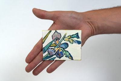 Vase with Irises mini painting