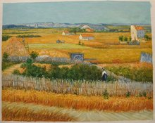 Harvest La Crau with Montmajour in the Background Oil Painting Reproduction