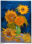 five sunflowers oil painting reproduction